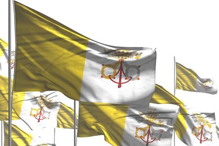 wonderful many Holy See flags are wave isolated on white - any feast flag 3d illustration  Stok Fotoğraf