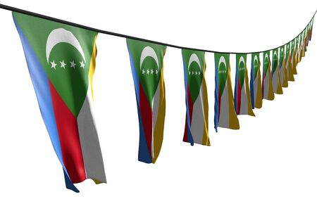 nice many Comoros flags or banners hanging diagonal with perspective view on string isolated on white - any occasion flag 3d illustration