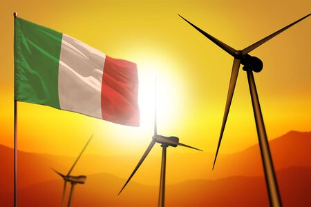 Italy wind energy, alternative energy environment concept with turbines and flag on sunset - alternative renewable energy - industrial illustration, 3D illustration Banco de Imagens - 132875098