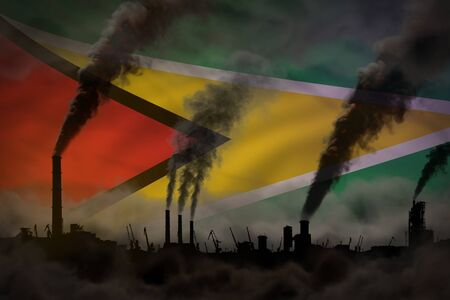 Global warming concept - heavy smoke from factory chimneys on Guyana flag background with space for your content - industrial 3D illustration Banco de Imagens - 132875122