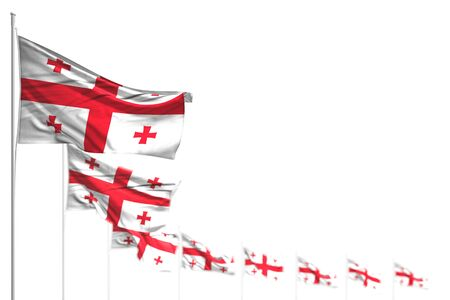 beautiful any feast flag 3d illustration  - Georgia isolated flags placed diagonal, photo with bokeh and space for your text