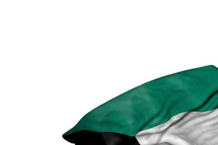 wonderful Kuwait flag with big folds lay in bottom right corner isolated on white - any celebration flag 3d illustration  Stok Fotoğraf