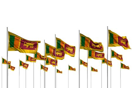 beautiful any holiday flag 3d illustration  - many Sri Lanka flags in a row isolated on white with empty space for your content Stok Fotoğraf