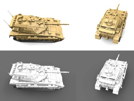 Military 3D Illustration of light grey and camouflage for desert miltary tanks with fictional design, detailed isolated fire fight concept Imagens - 132976940
