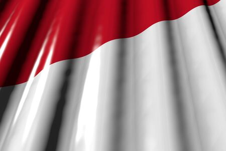 pretty holiday flag 3d illustration  - glossy - looking like plastic flag of Monaco with big folds lying flat diagonal