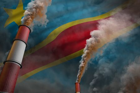 Pollution fight in Democratic Republic of Congo concept - industrial 3D illustration of two huge factory pipes with dense smoke on flag background