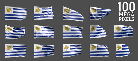 a lot of different pictures of Uruguay flag isolated on grey background - 3D illustration of object