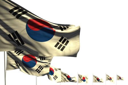 beautiful day of flag 3d illustration  - Republic of Korea (South Korea) isolated flags placed diagonal, picture with soft focus and place for text