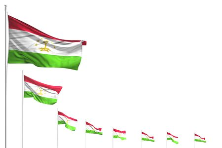 beautiful any feast flag 3d illustration  - many Tajikistan flags placed diagonal isolated on white with space for your text