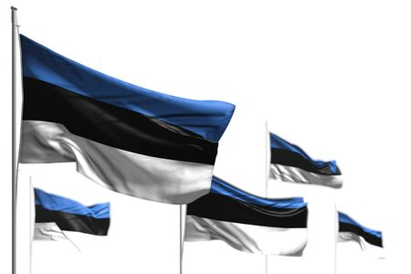wonderful five flags of Estonia are wave isolated on white - picture with soft focus - any holiday flag 3d illustration 写真素材