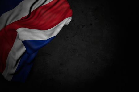 cute any celebration flag 3d illustration  - dark image of Costa Rica flag with large folds on black stone with free space for text