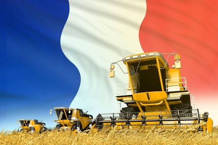 industrial 3D illustration of yellow farm agricultural combine harvester on field with France flag background, food industry concept