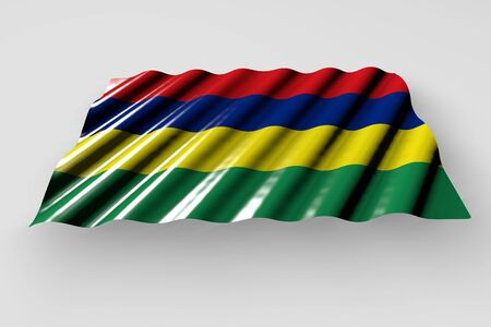 pretty shining flag of Mauritius with large folds lie isolated on grey - any feast flag 3d illustration