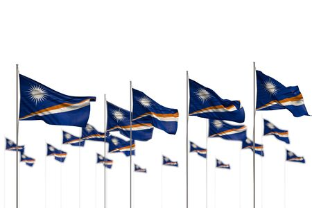 nice Marshall Islands isolated flags placed in row with soft focus and space for text - any celebration flag 3d illustration  Фото со стока
