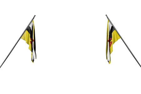 wonderful memorial day flag 3d illustration  - two Brunei Darussalam flags hangs on in corner poles from two sides isolated on white