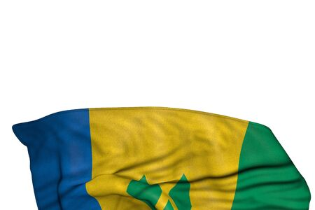beautiful Saint Vincent and the Grenadines flag with big folds lie in the bottom isolated on white - any celebration flag 3d illustration