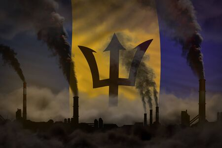 Dark pollution, fight against climate change concept - industrial 3D illustration of factory pipes heavy smoke on Barbados flag background Banco de Imagens