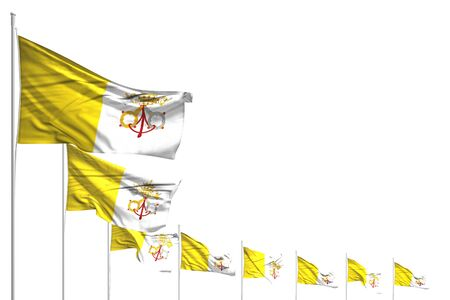 beautiful any occasion flag 3d illustration  - many Holy See flags placed diagonal isolated on white with place for text