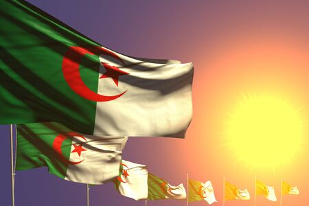 pretty many Algeria flags placed diagonal on sunset with space for content - any holiday flag 3d illustration