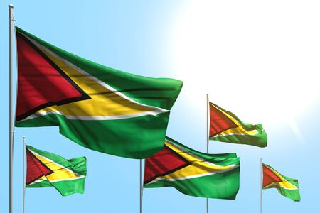 beautiful any feast flag 3d illustration  - 5 flags of Guyana are wave on blue sky background