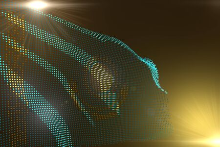 pretty digital image of Kazakhstan flag made of dots waving on yellow with free place for text - any feast flag 3d illustration