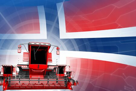 Farm machinery modernisation concept, red modern wheat combine harvesters on Norway flag - digital industrial 3D illustration