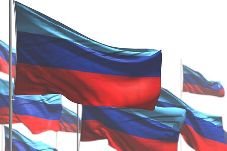 cute celebration flag 3d illustration  - many Luhansk Peoples Republic flags are wave isolated on white - illustration with soft focus