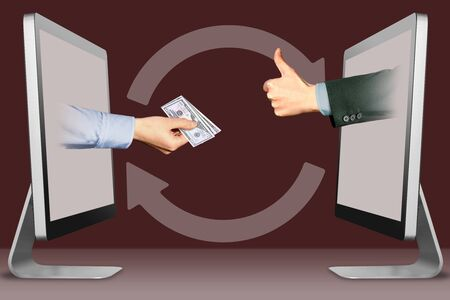 commerce concept, hands from laptops. hand with cash money and thumbs up, like . 3d illustration