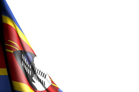wonderful anthem day flag 3d illustration  - isolated illustration of Swaziland flag hanging diagonal - mockup on white with place for text 版權商用圖片