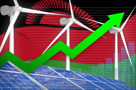 Malawi solar and wind energy rising chart, arrow up  - renewable energy industrial illustration. 3D Illustration Standard-Bild - 133507995
