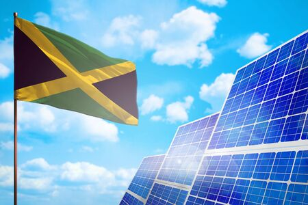Jamaica alternative energy, solar energy concept with flag - symbol of fight with global warming - industrial illustration, 3D illustration Standard-Bild - 133508000