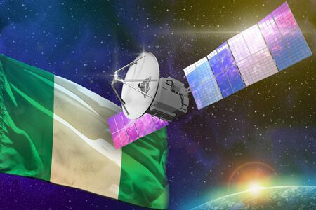 Satellite with Nigeria flag, space communications technology concept - 3D Illustration