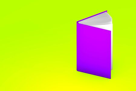 simple high detail purple half open book, knowledge concept isolated on green - 3d illustration of object Stock fotó