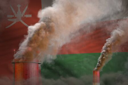 Global warming concept - dense smoke from factory chimneys on Oman flag background with space for your content - industrial 3D illustration 스톡 콘텐츠