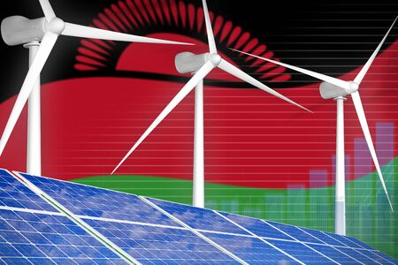 Malawi solar and wind energy digital graph concept  - renewable energy industrial illustration. 3D Illustration Standard-Bild - 133508350