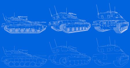 Military 3D Illustration of blue print schema - outlined isolated 3D modern tank with design that not exists, detailed war concept Imagens - 133508395