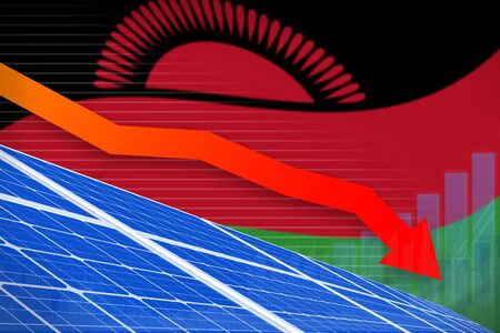 Malawi solar energy power lowering chart, arrow down  - environmental energy industrial illustration. 3D Illustration