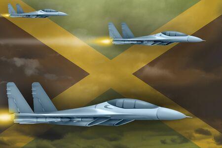 Jamaica air strike concept. Modern war airplanes attack on Jamaica flag background. 3d Illustration