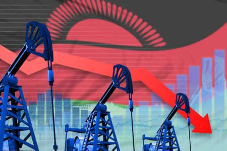 Malawi oil industry concept, industrial illustration - lowering, falling graph on Malawi flag background. 3D Illustration