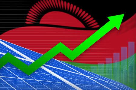 Malawi solar energy power rising chart, arrow up  - environmental energy industrial illustration. 3D Illustration Standard-Bild - 133508416