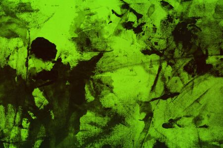 nice grunge green randomly painted canvas, fabric with color paint spots and blots texture for design purposes.