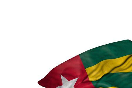 pretty any celebration flag 3d illustration  - Togo flag with big folds lying flat in bottom right corner isolated on white