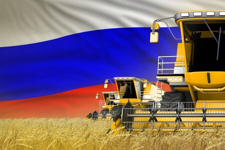 3 yellow modern combine harvesters with Russia flag on rye field - close view, farming concept - industrial 3D illustration Stock Photo