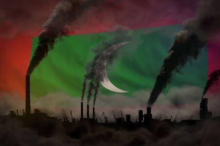 heavy smoke of industry chimneys on Maldives flag - global warming concept, background  industrial 3D illustration