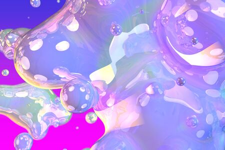 Abstract texture of colorful shiny soap like slime of liquid with gradient - soft focus 3D illustration of background design template