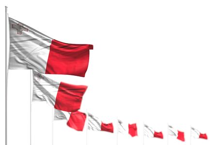 nice Malta isolated flags placed diagonal, image with selective focus and place for your content - any occasion flag 3d illustration  Фото со стока