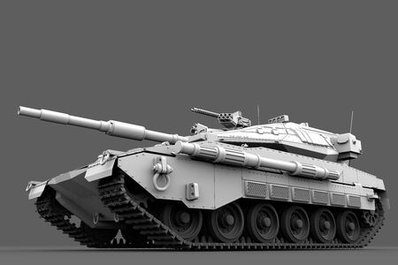 Military 3D Illustration of high resolution white miltary tank with not real design, fire fight concept isolated on grey background Imagens - 133517559
