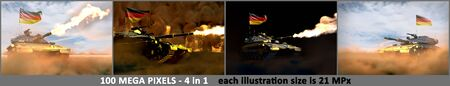 4 high resolution pictures of heavy tank with fictional design and with Germany flag - Germany army concept, military 3D Illustration