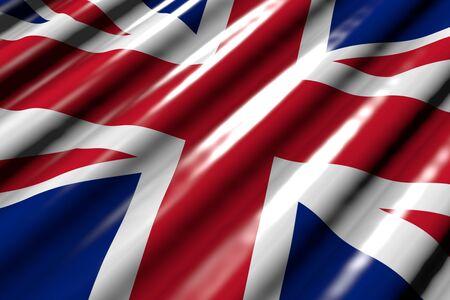 pretty memorial day flag 3d illustration  - glossy - looks like plastic flag of United Kingdom (UK) with large folds lying flat diagonal