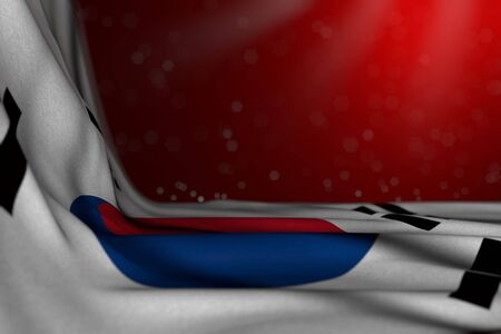 beautiful any celebration flag 3d illustration  - dark picture of Republic of Korea (South Korea) flag lay in corner on red background with selective focus and free space for your content Banco de Imagens